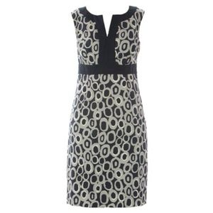 Boden Printed Dress Notch Neck Shift Dress